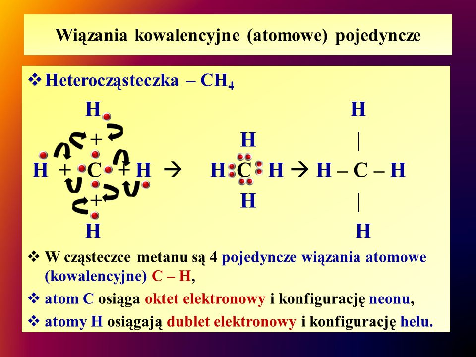 Wiązania kowalencyjne (atomowe) pojedyncze  Heterocząsteczka – CH 4 H + H | H + C + H  H C H  H – C – H + H | H  W cząsteczce metanu są 4 pojedync