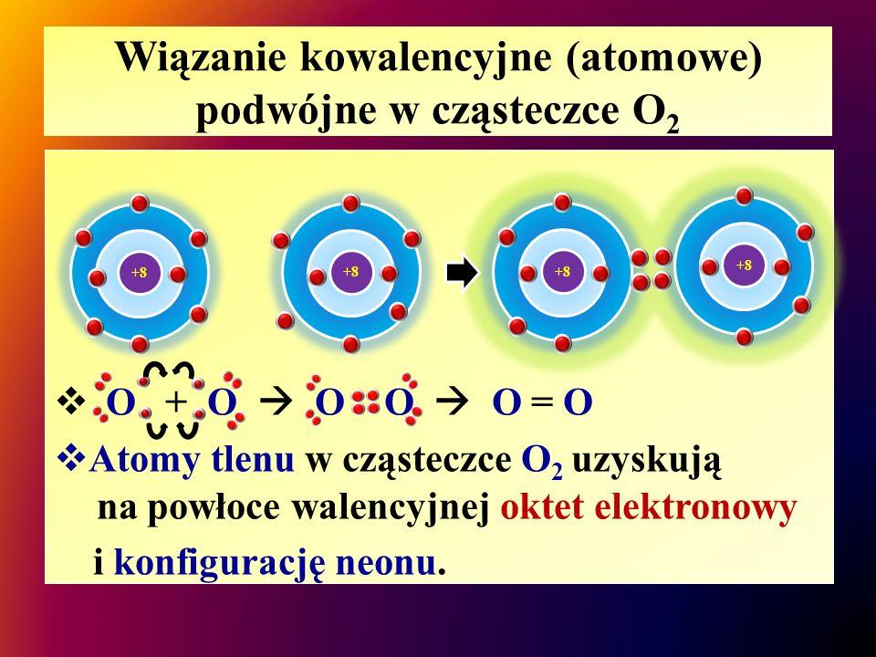 Wiązanie kowalencyjne (atomowe) podwójne w cząsteczce O 2  O + O  O O  O = O  Atomy tlenu w cząsteczce O 2 uzyskują na powłoce walencyjnej oktet e