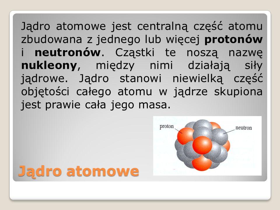 Liczba masowa Liczba atomowa Liczba atomowa (symbol Z) określa ile protonów znajduje się w jądrze danego atomu.