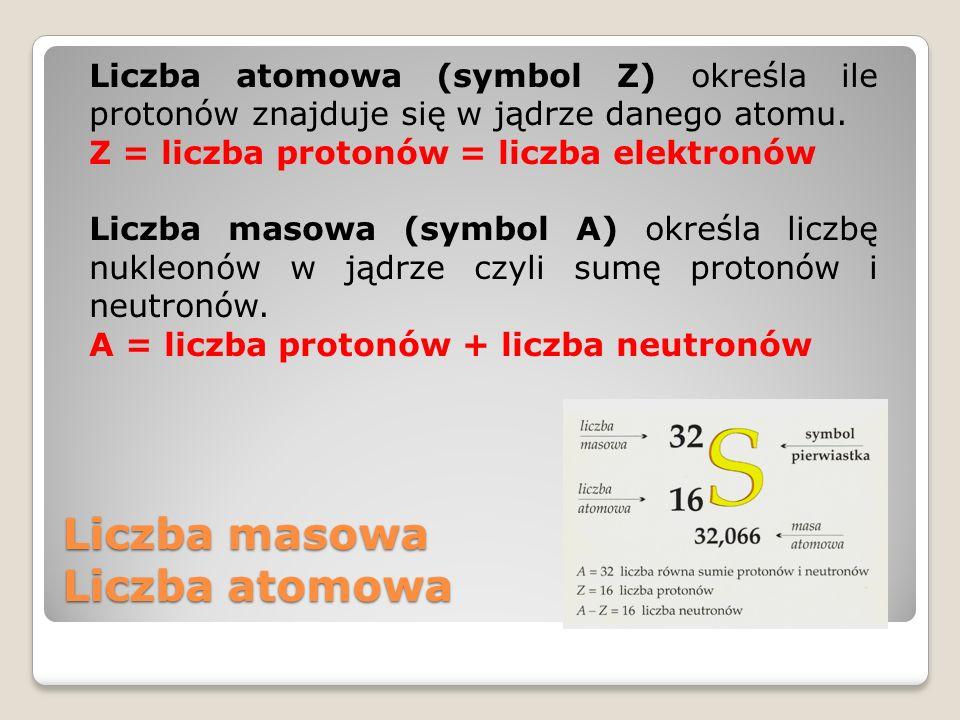 Liczba masowa Liczba atomowa Liczba atomowa (symbol Z) określa ile protonów znajduje się w jądrze danego atomu. Z = liczba protonów = liczba elektronó