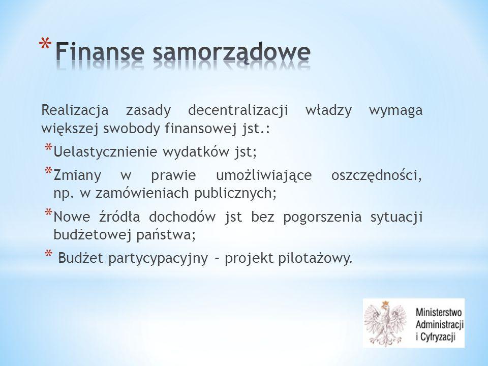 Realizacja zasady decentralizacji władzy wymaga większej swobody finansowej jst.: * Uelastycznienie wydatków jst; * Zmiany w prawie umożliwiające oszczędności, np.