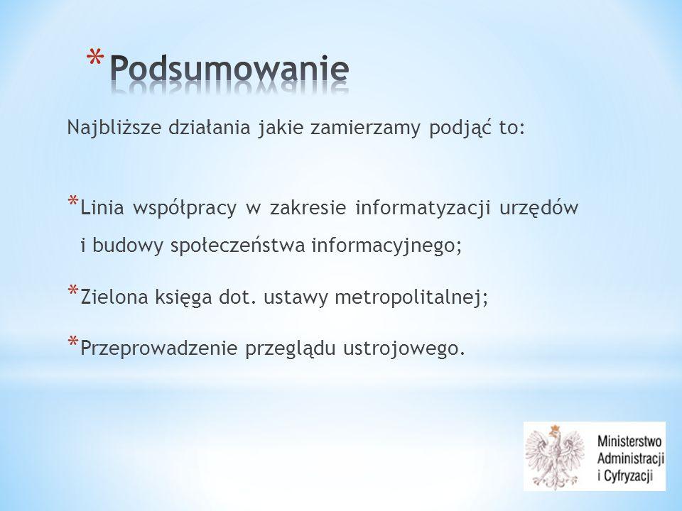 Najbliższe działania jakie zamierzamy podjąć to: * Linia współpracy w zakresie informatyzacji urzędów i budowy społeczeństwa informacyjnego; * Zielona księga dot.