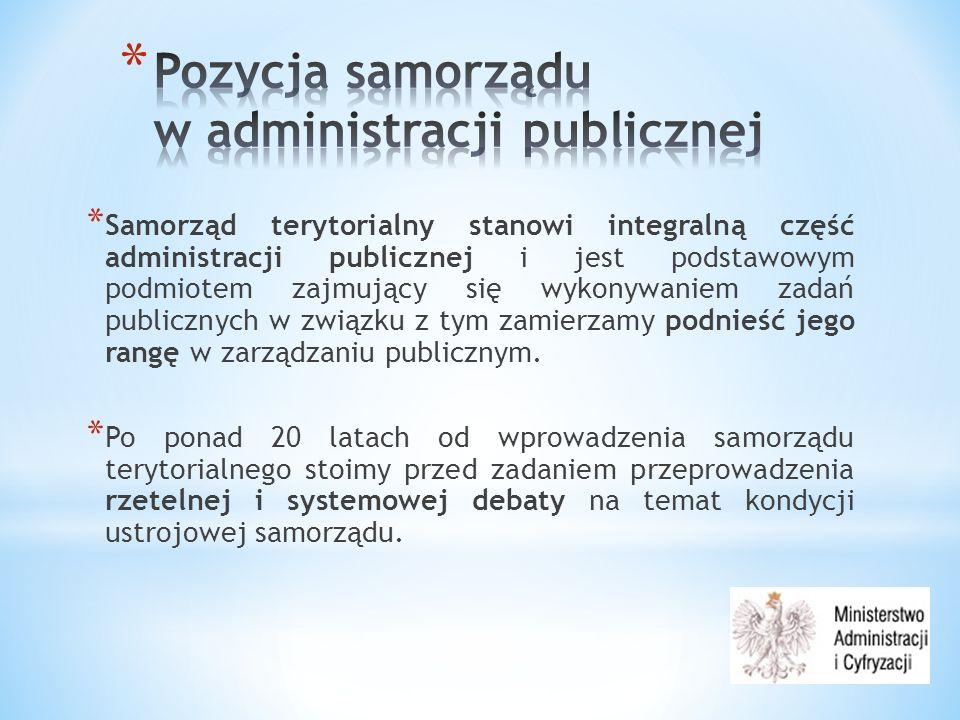 * Samorząd terytorialny stanowi integralną część administracji publicznej i jest podstawowym podmiotem zajmujący się wykonywaniem zadań publicznych w związku z tym zamierzamy podnieść jego rangę w zarządzaniu publicznym.
