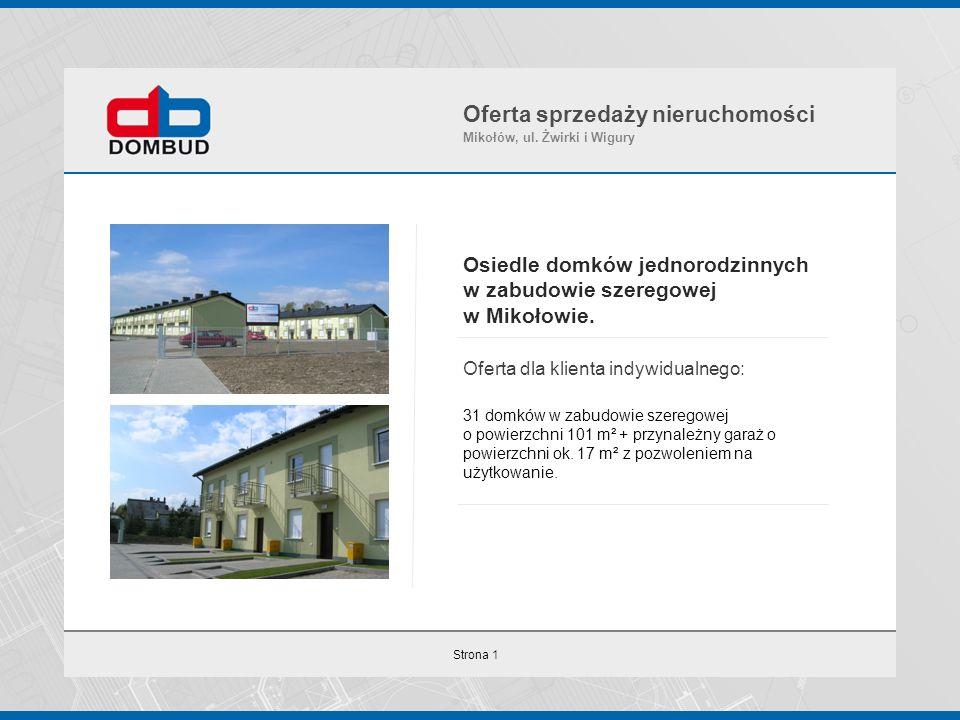 Strona 1 Osiedle domków jednorodzinnych w zabudowie szeregowej w Mikołowie. Oferta dla klienta indywidualnego: 31 domków w zabudowie szeregowej o powi