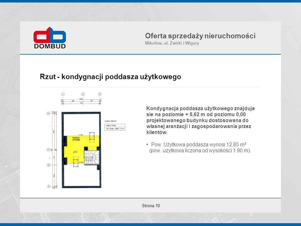Strona 10 Rzut - kondygnacji poddasza użytkowego Oferta sprzedaży nieruchomości Mikołów, ul. Żwirki i Wigury Kondygnacja poddasza użytkowego znajduje
