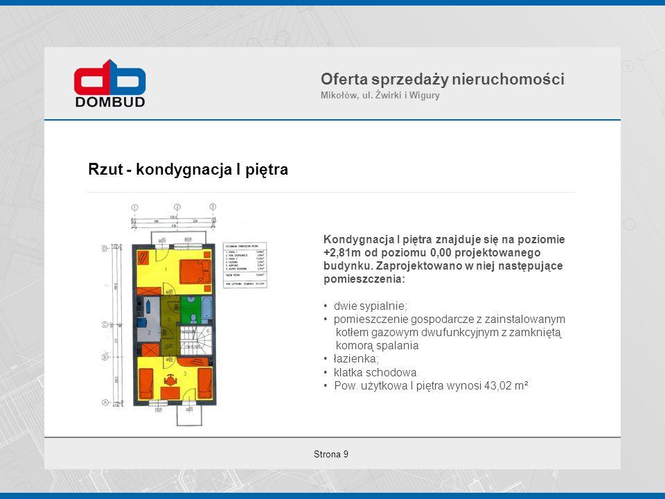 Strona 9 Rzut - kondygnacja I piętra Oferta sprzedaży nieruchomości Mikołów, ul. Żwirki i Wigury Kondygnacja I piętra znajduje się na poziomie +2,81m