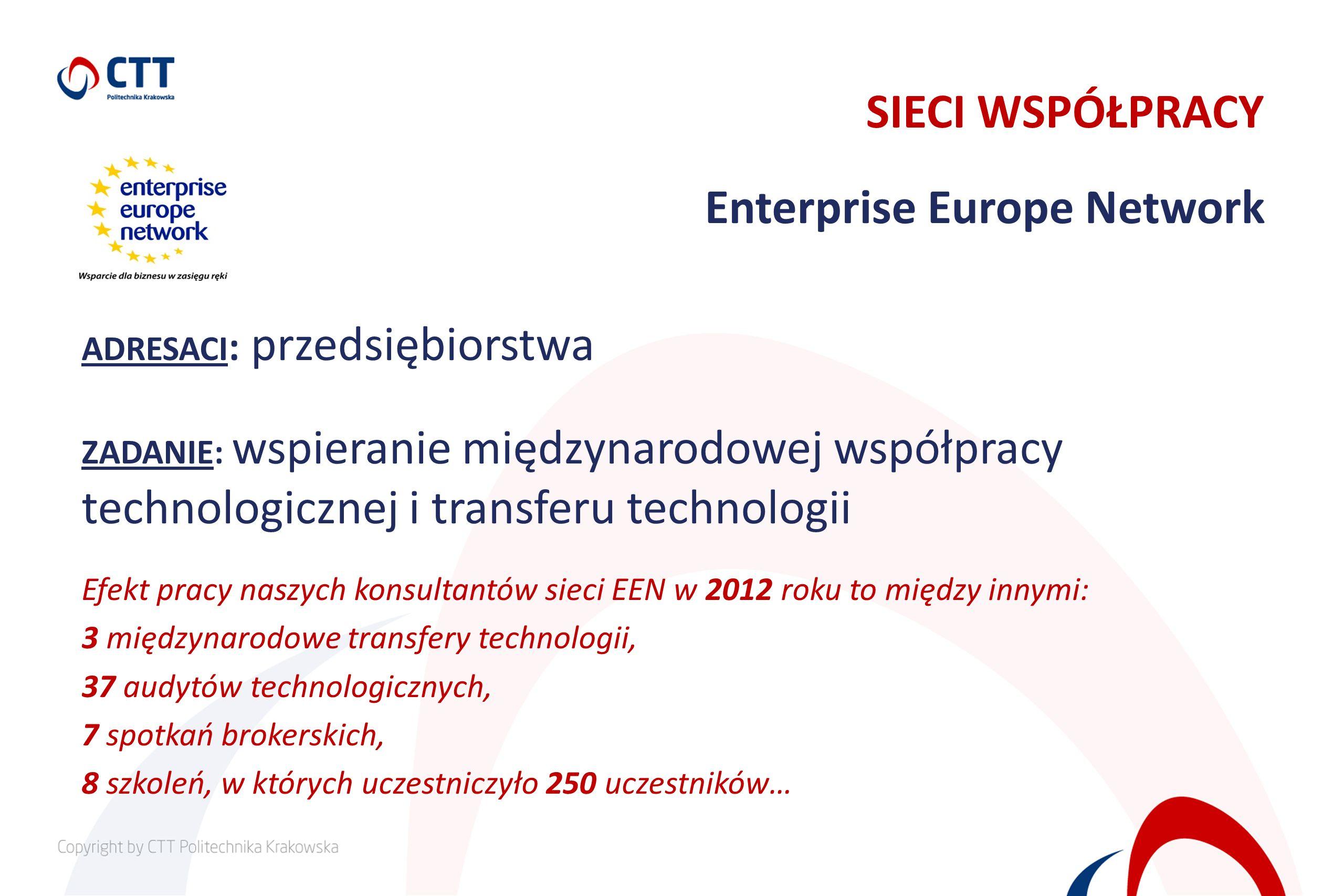 ADRESACI : przedsiębiorstwa ZADANIE: wspieranie międzynarodowej współpracy technologicznej i transferu technologii Efekt pracy naszych konsultantów si