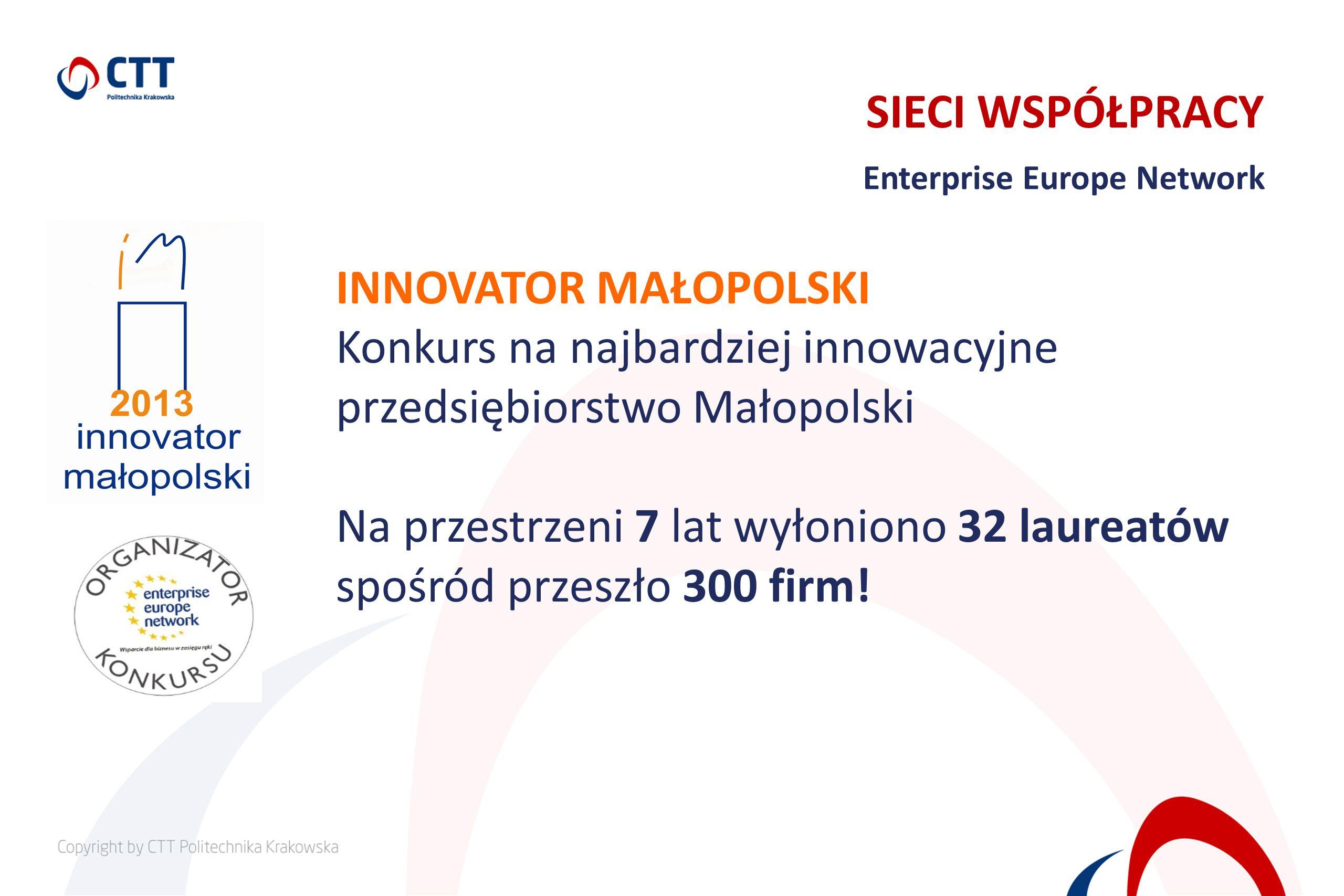 SIECI WSPÓŁPRACY Enterprise Europe Network INNOVATOR MAŁOPOLSKI Konkurs na najbardziej innowacyjne przedsiębiorstwo Małopolski Na przestrzeni 7 lat wy
