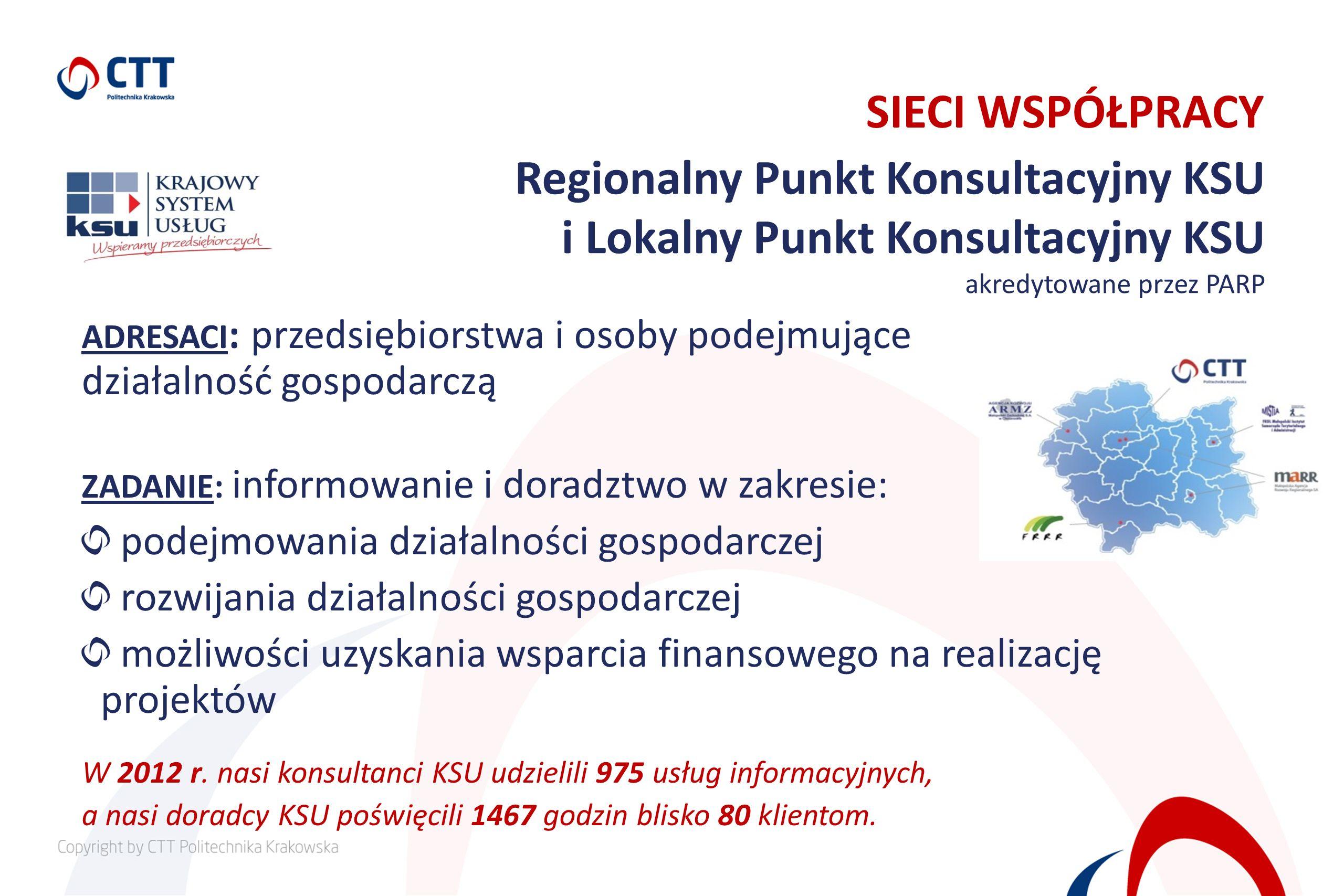 SIECI WSPÓŁPRACY Regionalny Punkt Konsultacyjny KSU i Lokalny Punkt Konsultacyjny KSU akredytowane przez PARP ADRESACI : przedsiębiorstwa i osoby pode