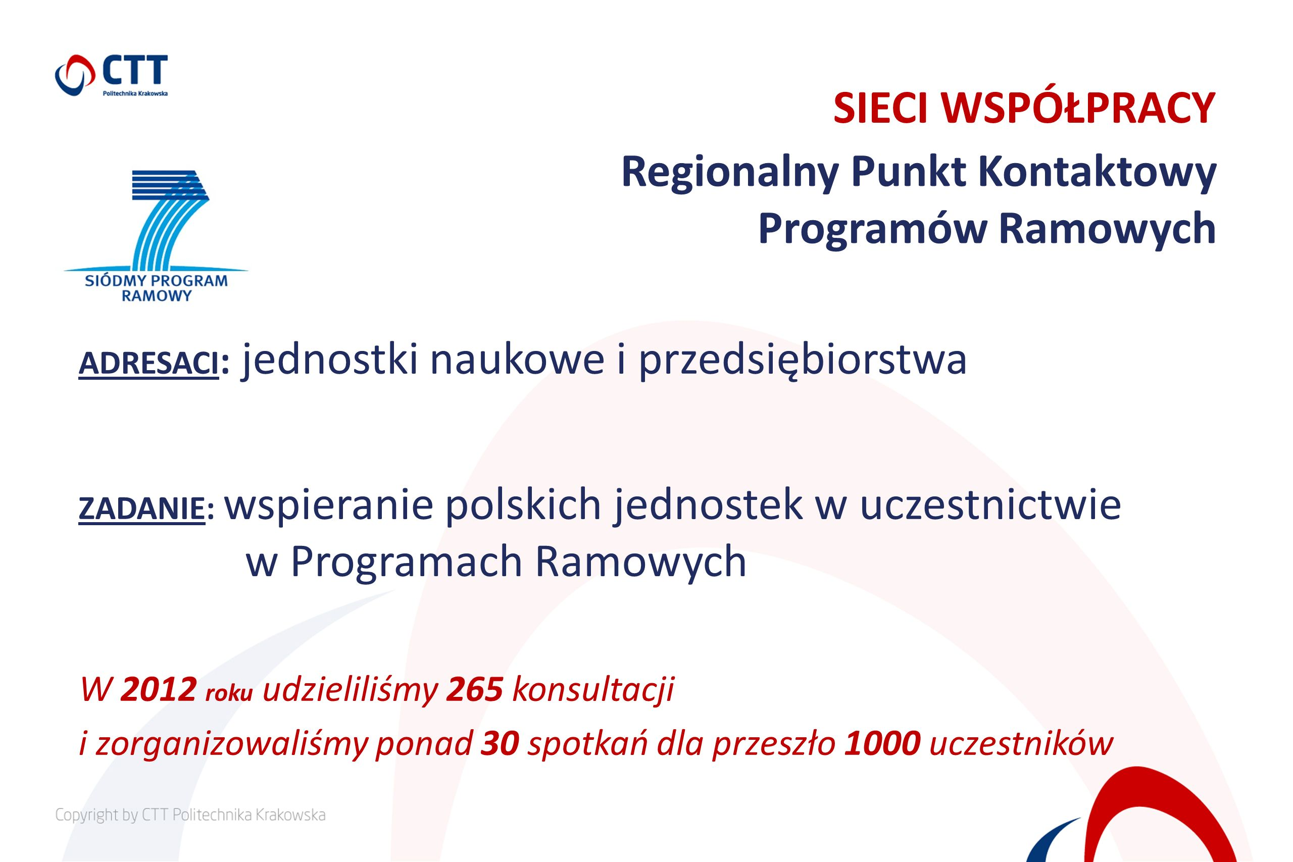 ADRESACI : jednostki naukowe i przedsiębiorstwa ZADANIE: wspieranie polskich jednostek w uczestnictwie w Programach Ramowych W 2012 roku udzieliliśmy