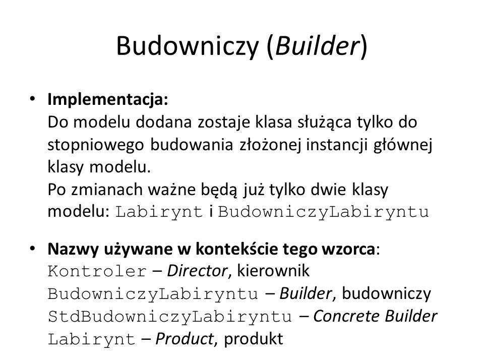 Budowniczy (Builder) Implementacja: Do modelu dodana zostaje klasa służąca tylko do stopniowego budowania złożonej instancji głównej klasy modelu. Po