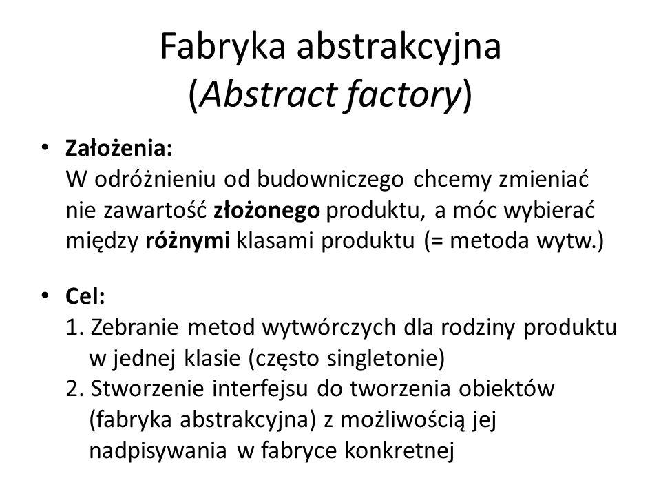 Fabryka abstrakcyjna (Abstract factory) Założenia: W odróżnieniu od budowniczego chcemy zmieniać nie zawartość złożonego produktu, a móc wybierać między różnymi klasami produktu (= metoda wytw.) Cel: 1.
