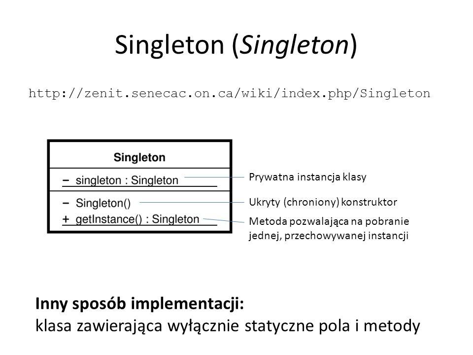Singleton (Singleton) http://zenit.senecac.on.ca/wiki/index.php/Singleton Prywatna instancja klasy Ukryty (chroniony) konstruktor Metoda pozwalająca na pobranie jednej, przechowywanej instancji Inny sposób implementacji: klasa zawierająca wyłącznie statyczne pola i metody