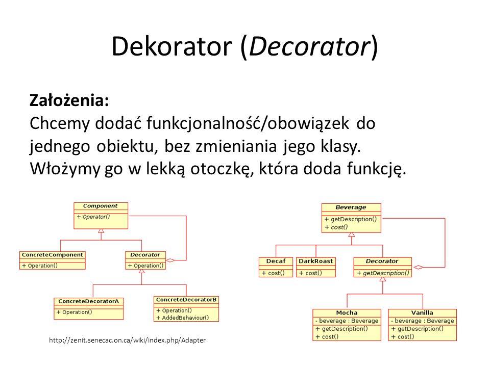 Dekorator (Decorator) Założenia: Chcemy dodać funkcjonalność/obowiązek do jednego obiektu, bez zmieniania jego klasy. Włożymy go w lekką otoczkę, któr