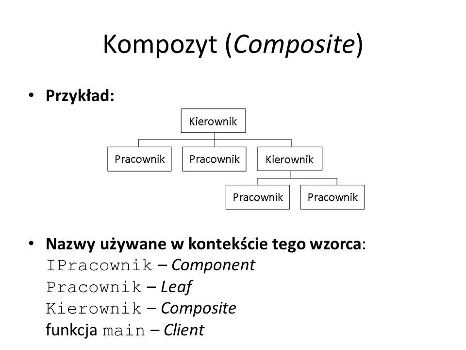 Kompozyt (Composite) Przykład: Nazwy używane w kontekście tego wzorca: IPracownik – Component Pracownik – Leaf Kierownik – Composite funkcja main – Client
