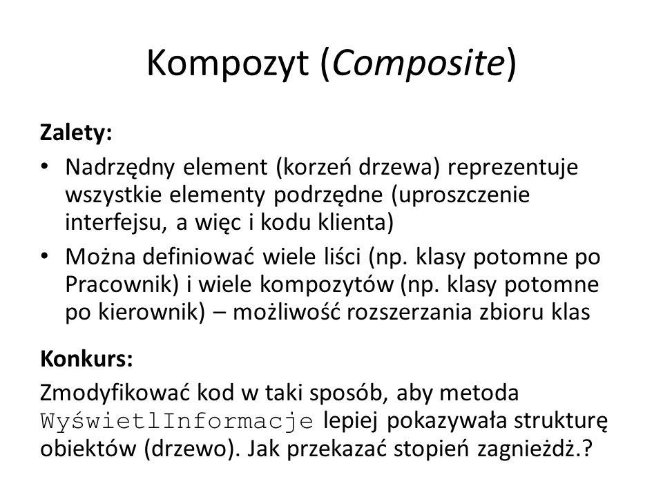 Kompozyt (Composite) Zalety: Nadrzędny element (korzeń drzewa) reprezentuje wszystkie elementy podrzędne (uproszczenie interfejsu, a więc i kodu klien