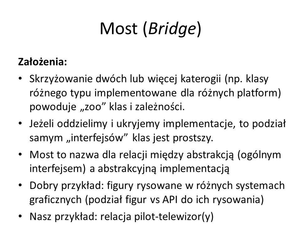 """Most (Bridge) Założenia: Skrzyżowanie dwóch lub więcej katerogii (np. klasy różnego typu implementowane dla różnych platform) powoduje """"zoo"""" klas i za"""