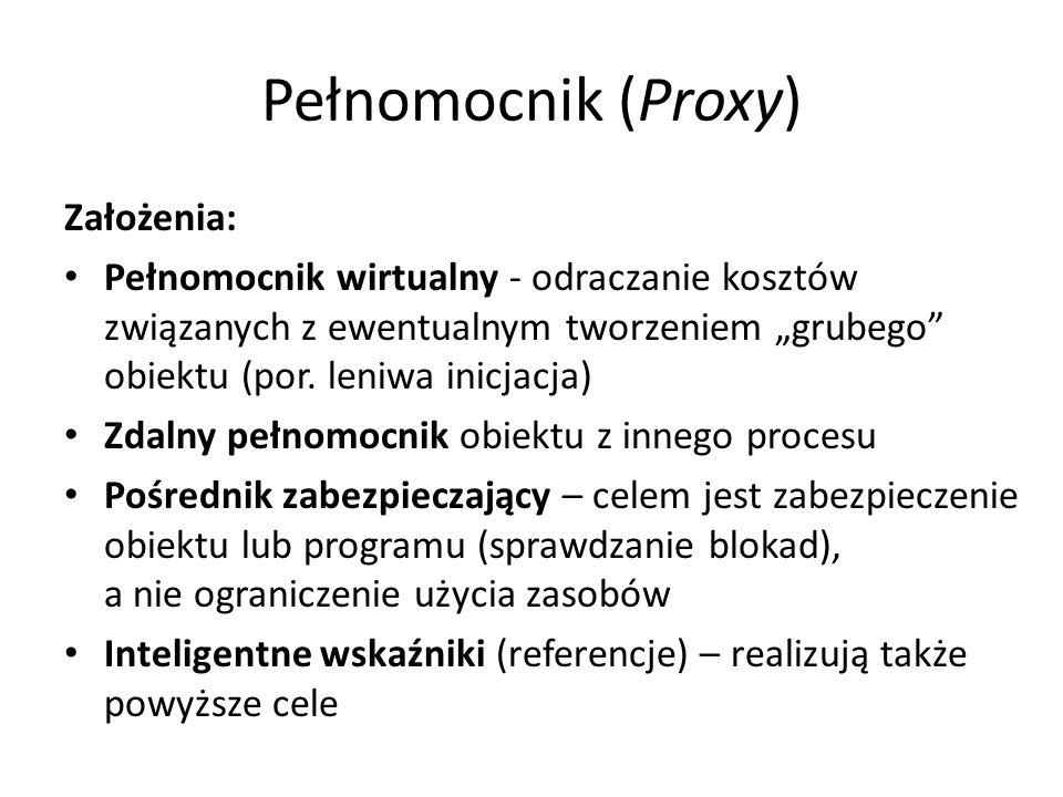 """Pełnomocnik (Proxy) Założenia: Pełnomocnik wirtualny - odraczanie kosztów związanych z ewentualnym tworzeniem """"grubego"""" obiektu (por. leniwa inicjacja"""