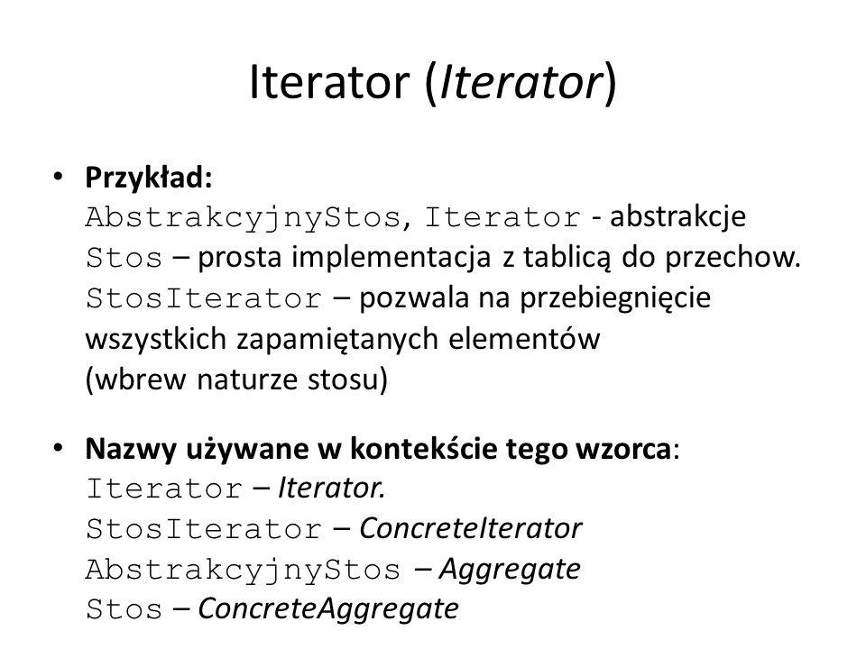 Iterator (Iterator) Przykład: AbstrakcyjnyStos, Iterator - abstrakcje Stos – prosta implementacja z tablicą do przechow. StosIterator – pozwala na prz