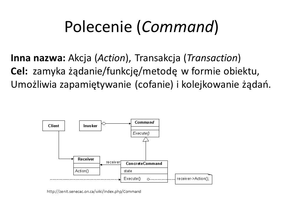 Polecenie (Command) Inna nazwa: Akcja (Action), Transakcja (Transaction) Cel: zamyka żądanie/funkcję/metodę w formie obiektu, Umożliwia zapamiętywanie (cofanie) i kolejkowanie żądań.