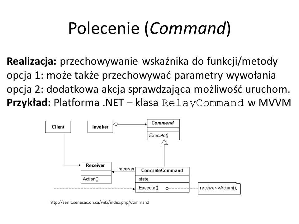 Polecenie (Command) Realizacja: przechowywanie wskaźnika do funkcji/metody opcja 1: może także przechowywać parametry wywołania opcja 2: dodatkowa akc