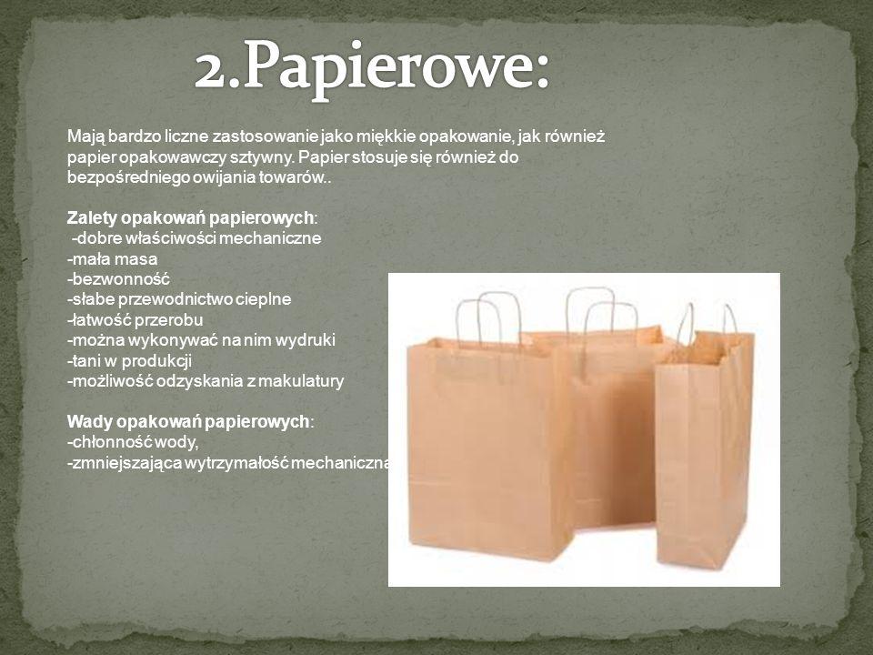 Mają bardzo liczne zastosowanie jako miękkie opakowanie, jak również papier opakowawczy sztywny.