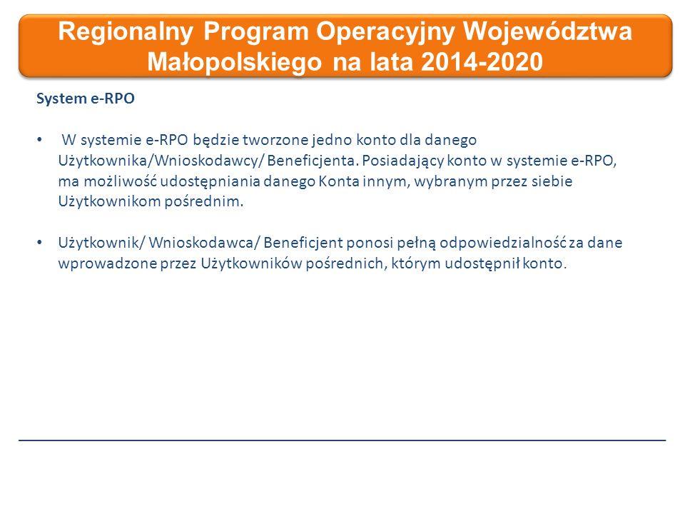 Regionalny Program Operacyjny Województwa Małopolskiego na lata 2014-2020 System e-RPO W systemie e-RPO będzie tworzone jedno konto dla danego Użytkownika/Wnioskodawcy/ Beneficjenta.