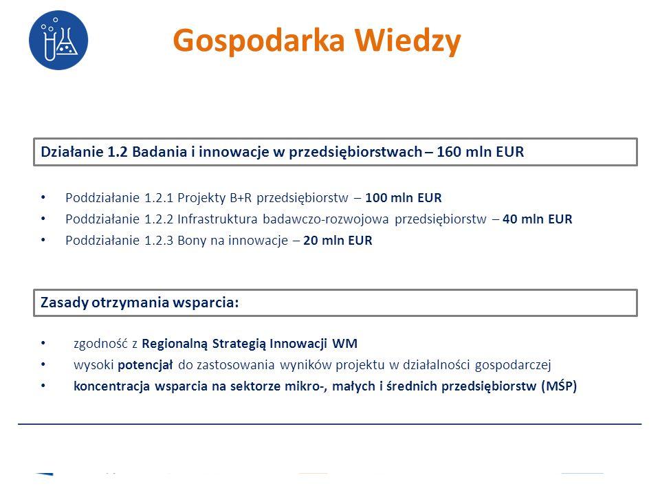 Działanie 1.2 Badania i innowacje w przedsiębiorstwach – 160 mln EUR Poddziałanie 1.2.1 Projekty B+R przedsiębiorstw – 100 mln EUR Poddziałanie 1.2.2 Infrastruktura badawczo-rozwojowa przedsiębiorstw – 40 mln EUR Poddziałanie 1.2.3 Bony na innowacje – 20 mln EUR Zasady otrzymania wsparcia: zgodność z Regionalną Strategią Innowacji WM wysoki potencjał do zastosowania wyników projektu w działalności gospodarczej koncentracja wsparcia na sektorze mikro-, małych i średnich przedsiębiorstw (MŚP) Gospodarka Wiedzy