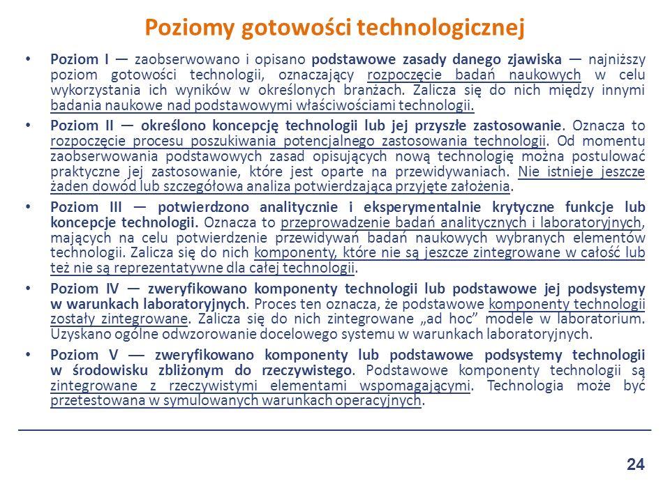 Poziom I — zaobserwowano i opisano podstawowe zasady danego zjawiska — najniższy poziom gotowości technologii, oznaczający rozpoczęcie badań naukowych w celu wykorzystania ich wyników w określonych branżach.