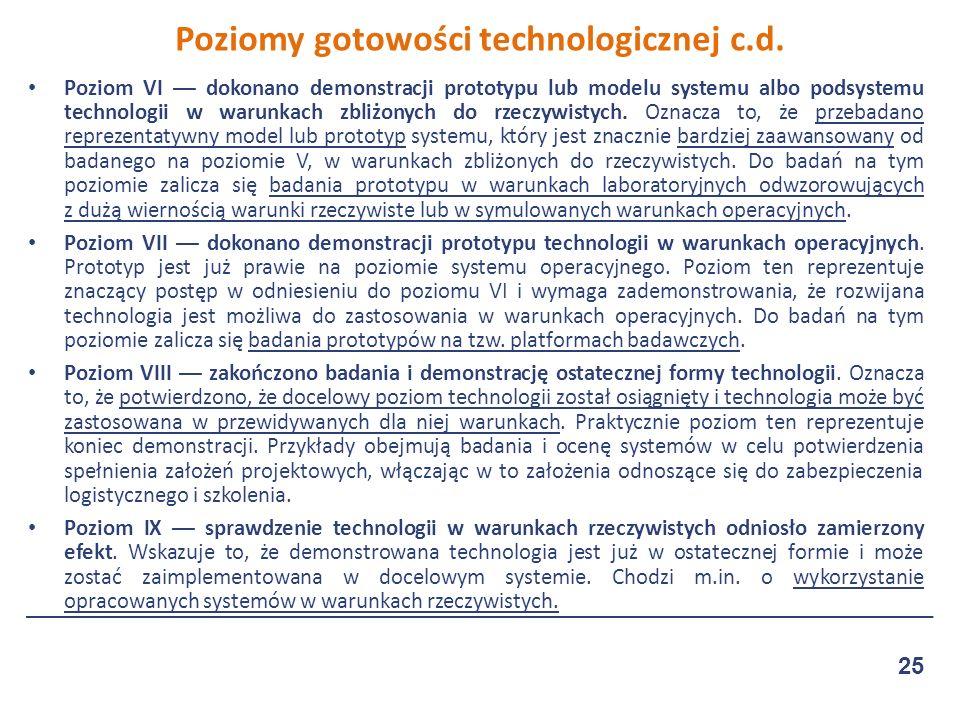 Poziom VI — dokonano demonstracji prototypu lub modelu systemu albo podsystemu technologii w warunkach zbliżonych do rzeczywistych.