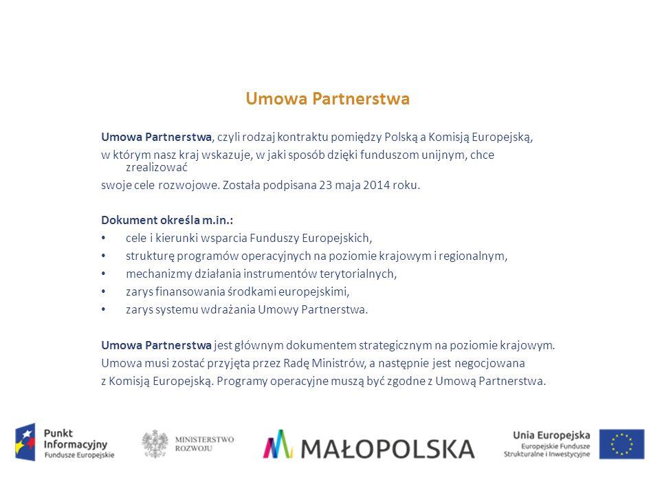 Umowa Partnerstwa Umowa Partnerstwa, czyli rodzaj kontraktu pomiędzy Polską a Komisją Europejską, w którym nasz kraj wskazuje, w jaki sposób dzięki funduszom unijnym, chce zrealizować swoje cele rozwojowe.