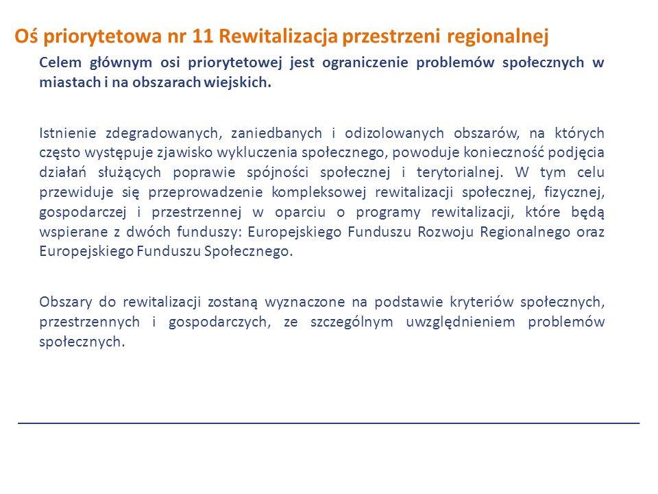 Oś priorytetowa nr 11 Rewitalizacja przestrzeni regionalnej Celem głównym osi priorytetowej jest ograniczenie problemów społecznych w miastach i na obszarach wiejskich.