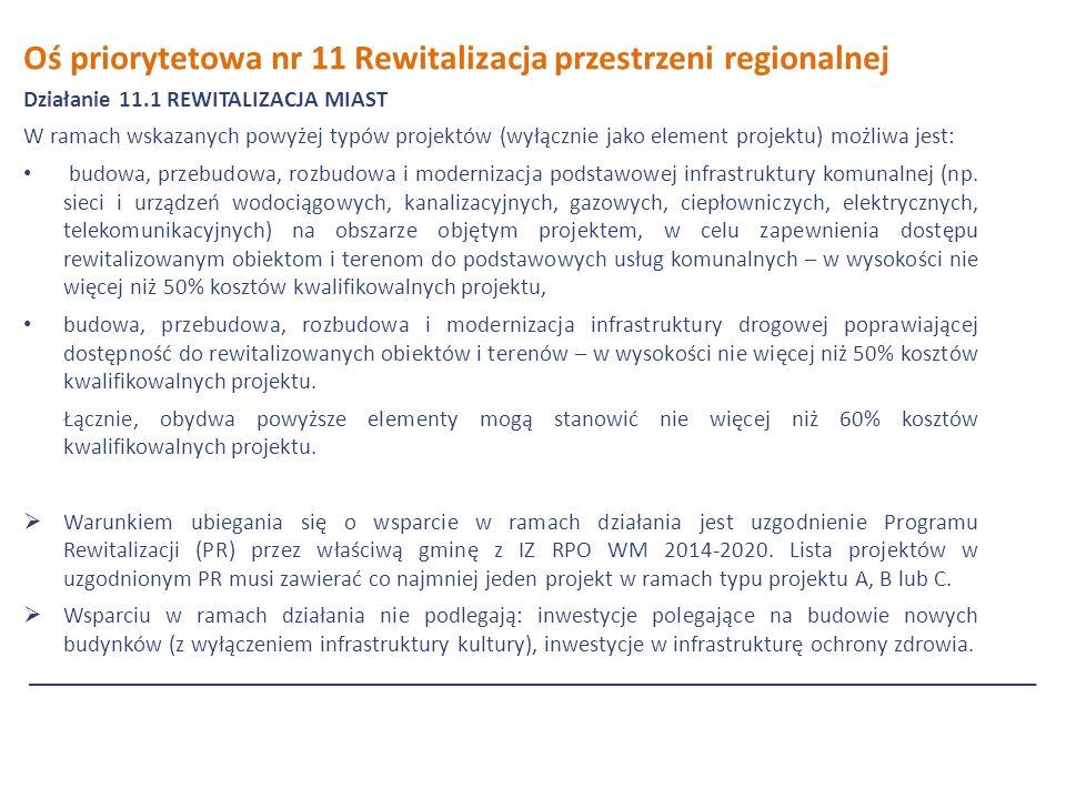 Oś priorytetowa nr 11 Rewitalizacja przestrzeni regionalnej Działanie 11.1 REWITALIZACJA MIAST W ramach wskazanych powyżej typów projektów (wyłącznie jako element projektu) możliwa jest: budowa, przebudowa, rozbudowa i modernizacja podstawowej infrastruktury komunalnej (np.