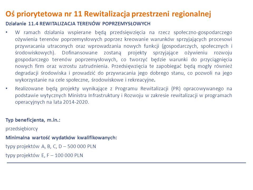 Oś priorytetowa nr 11 Rewitalizacja przestrzeni regionalnej Działanie 11.4 REWITALIZACJA TERENÓW POPRZEMYSŁOWYCH W ramach działania wspierane będą przedsięwzięcia na rzecz społeczno-gospodarczego ożywienia terenów poprzemysłowych poprzez kreowanie warunków sprzyjających procesowi przywracania utraconych oraz wprowadzania nowych funkcji (gospodarczych, społecznych i środowiskowych).