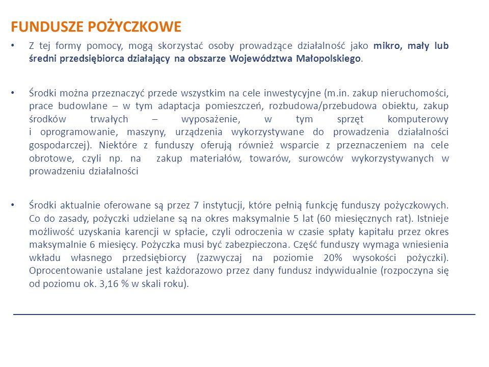 FUNDUSZE POŻYCZKOWE Z tej formy pomocy, mogą skorzystać osoby prowadzące działalność jako mikro, mały lub średni przedsiębiorca działający na obszarze Województwa Małopolskiego.