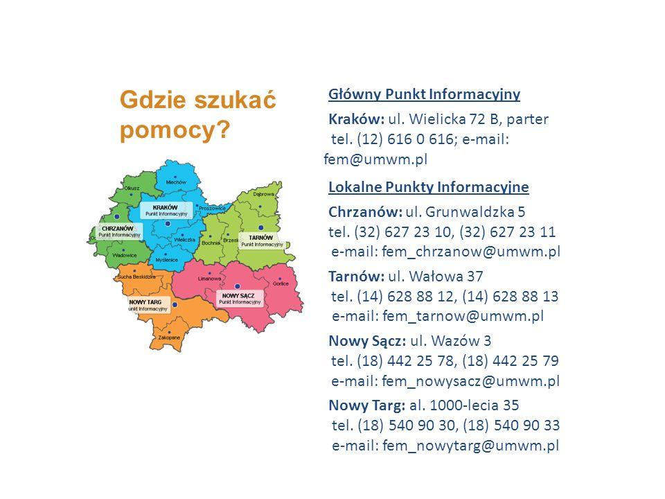 Główny Punkt Informacyjny Kraków: ul. Wielicka 72 B, parter tel.