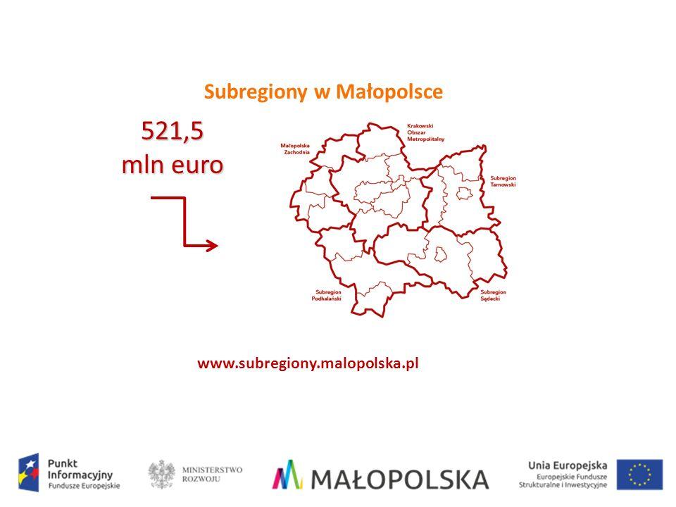 Subregiony w Małopolsce www.subregiony.malopolska.pl 521,5 mln euro