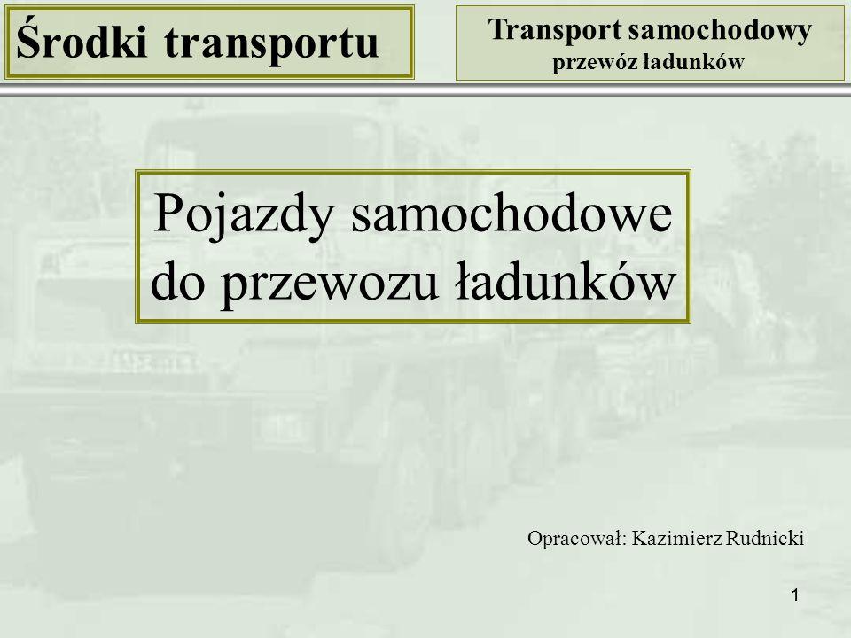 72 Środki transportu Transport samochodowy przewóz ładunków Klasyfikacja samochodów ciężarowych Kryterium: ogólna liczba kół (w tym kół napędza- nych i kół skręcanych) Samochód ciężarowy 12-kołowy z napędem na wszystkie koła, skręcanych 6 kół osi przednich 12x12/6 Źródło: http://www.roadtransport.com/blogs/big-lorry-blog/2007/11/ [29.12.2009]