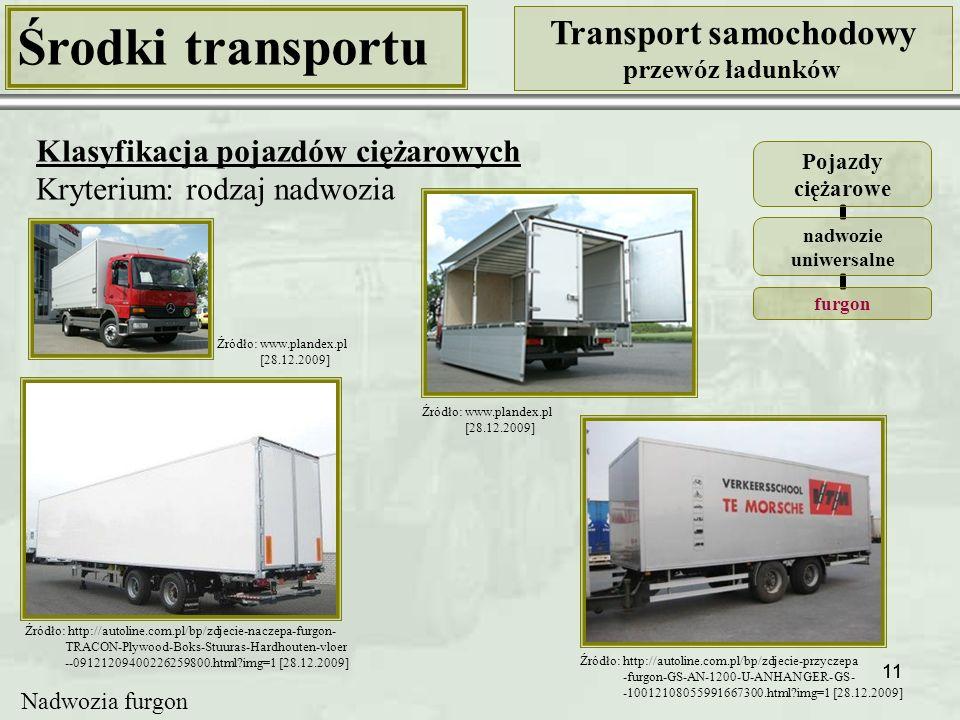 11 Środki transportu Transport samochodowy przewóz ładunków Klasyfikacja pojazdów ciężarowych Kryterium: rodzaj nadwozia Pojazdy ciężarowe nadwozie uniwersalne furgon Nadwozia furgon Źródło: www.plandex.pl [28.12.2009] Źródło: www.plandex.pl [28.12.2009] Źródło: http://autoline.com.pl/bp/zdjecie-przyczepa -furgon-GS-AN-1200-U-ANHANGER-GS- -10012108055991667300.html?img=1 [28.12.2009] Źródło: http://autoline.com.pl/bp/zdjecie-naczepa-furgon- TRACON-Plywood-Boks-Stuuras-Hardhouten-vloer --09121209400226259800.html?img=1 [28.12.2009]