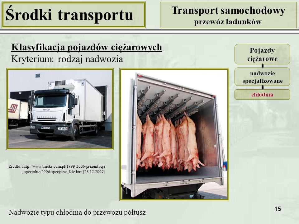 15 Środki transportu Transport samochodowy przewóz ładunków Klasyfikacja pojazdów ciężarowych Kryterium: rodzaj nadwozia Pojazdy ciężarowe nadwozie specjalizowane chłodnia Nadwozie typu chłodnia do przewozu półtusz Źródło: http://www.trucks.com.pl/1999-2006/prezentacje _specjalne/2006/specjalne_84c.htm [28.12.2009]