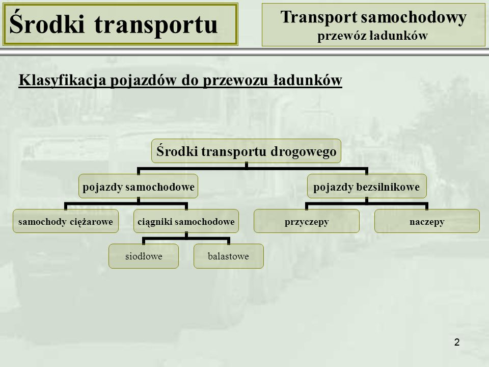 22 Środki transportu Transport samochodowy przewóz ładunków Środki transportu drogowego pojazdy samochodowe samochody ciężarowe ciągniki samochodowe siodłowebalastowe pojazdy bezsilnikowe przyczepynaczepy Klasyfikacja pojazdów do przewozu ładunków