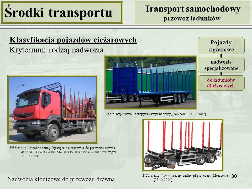 30 Środki transportu Transport samochodowy przewóz ładunków Klasyfikacja pojazdów ciężarowych Kryterium: rodzaj nadwozia Pojazdy ciężarowe nadwozie specjalizowane do ładunków dłużycowych Nadwozia kłonicowe do przewozu drewna Źródło: http://autoline.com.pl/bp/zdjecie-ciezarowka-do-przewozu-drewna -RENAULT-Kerax-450DXI--10011910043395479800.html?img=1 [28.12.2009] Źródło: http://www.naczepyzaslaw.pl/naczepy_klonicowe [28.12.2009] Źródło: http://www.naczepyzaslaw.pl/przyczepy_klonicowe [28.12.2009]
