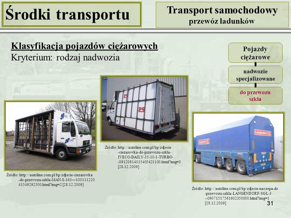 31 Środki transportu Transport samochodowy przewóz ładunków Klasyfikacja pojazdów ciężarowych Kryterium: rodzaj nadwozia Pojazdy ciężarowe nadwozie specjalizowane do przewozu szkła Źródło: http://autoline.com.pl/bp/zdjecie-ciezarowka -do-przewozu-szkla-MAN-8-163—100111220 43549292500.html?img=2 [28.12.2009] Źródło: http://autoline.com.pl/bp/zdjecie-naczepa-do -przewozu-szkla-LANGENDORF-SGL-3 --09071517561602350000.html?img=1 [28.12.2009] Źródło: http://autoline.com.pl/bp/zdjecie -ciezarowka-do-przewozu-szkla- IVECO-DAILY-35-10-1-TURBO- -09120814035405423100.html?img=3 [28.12.2009]