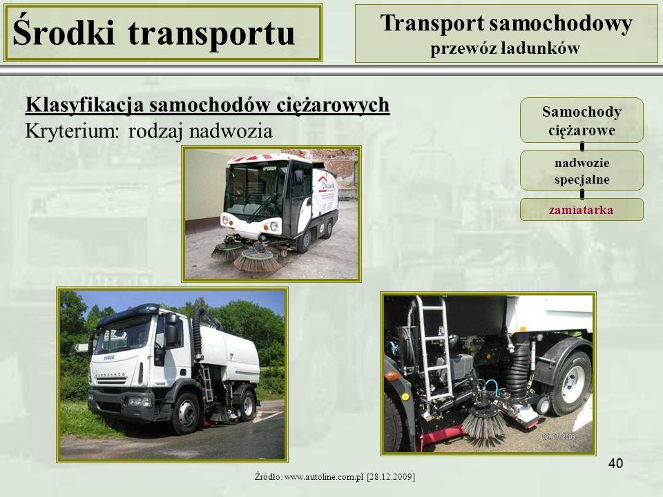 40 Środki transportu Transport samochodowy przewóz ładunków Klasyfikacja samochodów ciężarowych Kryterium: rodzaj nadwozia Źródło: www.autoline.com.pl [28.12.2009] Samochody ciężarowe nadwozie specjalne zamiatarka