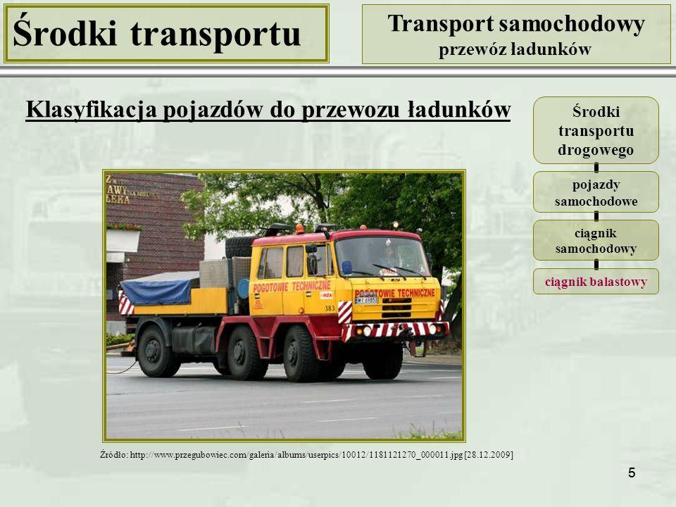 66 Środki transportu Transport samochodowy przewóz ładunków Klasyfikacja samochodów ciężarowych Kryterium: ogólna liczba kół (w tym kół napędza- nych i kół skręcanych) Samochód ciężarowy 6-kołowy z napędem na wszystkie kola (6), skręcane koła osi przedniej 6x6 Źródło: http://www.kupsprzedaj.pl [29.12.2009] Źródło: http://www.blackinsitutesting.com.au [29.12.2009]