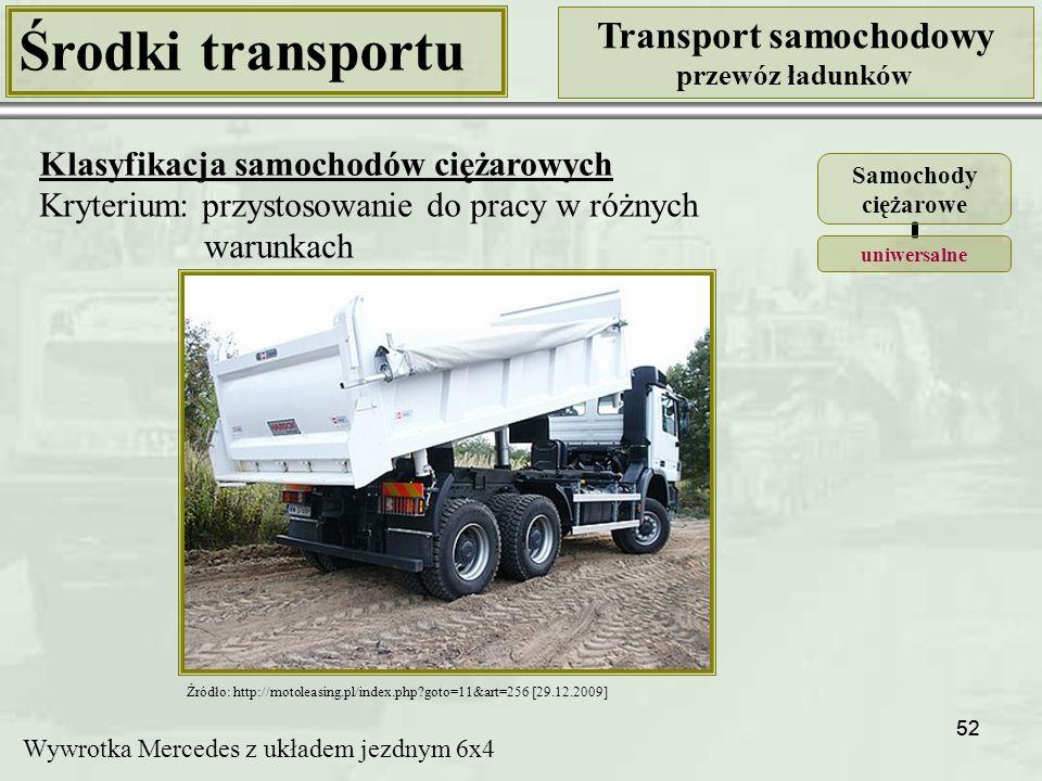 52 Środki transportu Transport samochodowy przewóz ładunków Klasyfikacja samochodów ciężarowych Kryterium: przystosowanie do pracy w różnych warunkach Źródło: http://motoleasing.pl/index.php?goto=11&art=256 [29.12.2009] Wywrotka Mercedes z układem jezdnym 6x4 Samochody ciężarowe uniwersalne