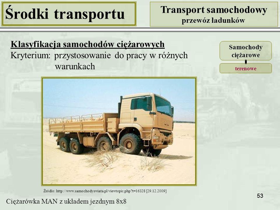 53 Środki transportu Transport samochodowy przewóz ładunków Klasyfikacja samochodów ciężarowych Kryterium: przystosowanie do pracy w różnych warunkach Źródło: http://www.samochodyswiata.pl/viewtopic.php?t=16328 [29.12.2009] Ciężarówka MAN z układem jezdnym 8x8 Samochody ciężarowe terenowe
