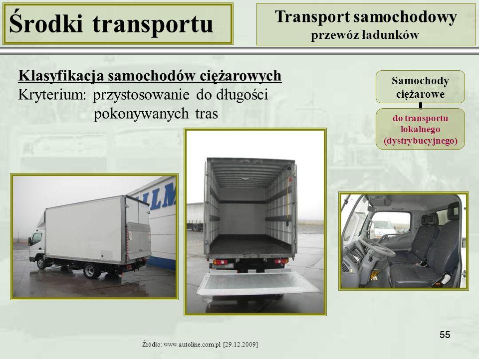 55 Środki transportu Transport samochodowy przewóz ładunków Klasyfikacja samochodów ciężarowych Kryterium: przystosowanie do długości pokonywanych tras Źródło: www.autoline.com.pl [29.12.2009] Samochody ciężarowe do transportu lokalnego (dystrybucyjnego)
