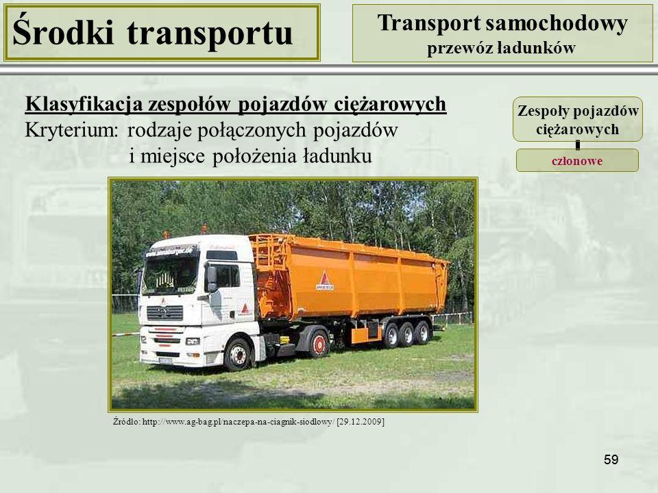 59 Środki transportu Transport samochodowy przewóz ładunków Klasyfikacja zespołów pojazdów ciężarowych Kryterium: rodzaje połączonych pojazdów i miejsce położenia ładunku Źródło: http://www.ag-bag.pl/naczepa-na-ciagnik-siodlowy/ [29.12.2009] Zespoły pojazdów ciężarowych członowe