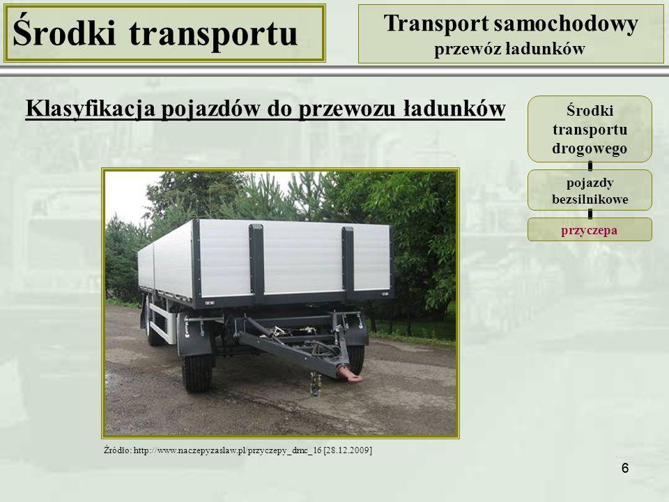 66 Środki transportu Transport samochodowy przewóz ładunków Klasyfikacja pojazdów do przewozu ładunków Środki transportu drogowego pojazdy bezsilnikowe przyczepa Źródło: http://www.naczepyzaslaw.pl/przyczepy_dmc_16 [28.12.2009]